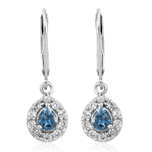 Santa Maria Aquamarine (Pear), Natural Cambodian Zircon Lever Back Earrings in Platinum Overlay Sterling Silver 1.000 Ct.