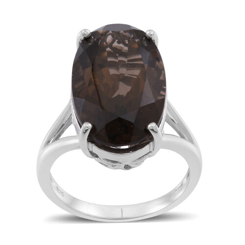Brazilian Smoky Quartz (Ovl) Ring in Rhodium Plated Sterling Silver 11.500 Ct.