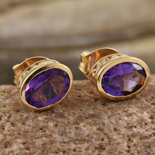 Amethyst 1.50 Ct Silver Bezel Set Stud Earrings in Gold Overlay