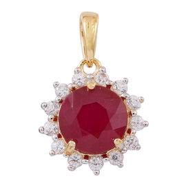 Limited Edition- 9K Y Gold AA African Ruby (Rnd), Natural White Cambodian Zircon Floral Pendant 3.350 Ct.