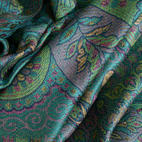 SILK MARK - 100% Superfine Silk Yellow, Pink and Multi Colour Floral and Paisley Pattern Jolly Green Colour Jacquard Jamawar Scarf with Tassels (Size 180x70 Cm) (Weight 125 - 140 Gms)