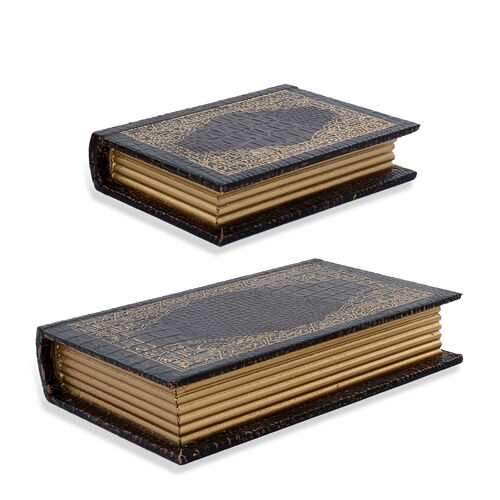 Set of 2 - Brown Colour Croc Embossed Jewellery Box