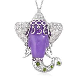 Purple Jade, Amethyst, Russian Diopside and Natural White Cambodian Zircon Elephant Head Pendant With Chain (Size 30) in Platinum Overlay Sterling Silver 43.650 Ct.
