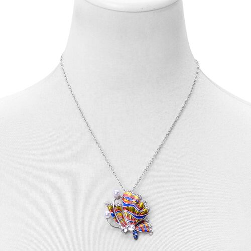 Set of 2 - Simulated White Diamond, White and Black Austrian Crystal Multi Colour Enameled Swan and Butterfly Brooch or Pendant with Chain (Size 20) in Stainless Steel