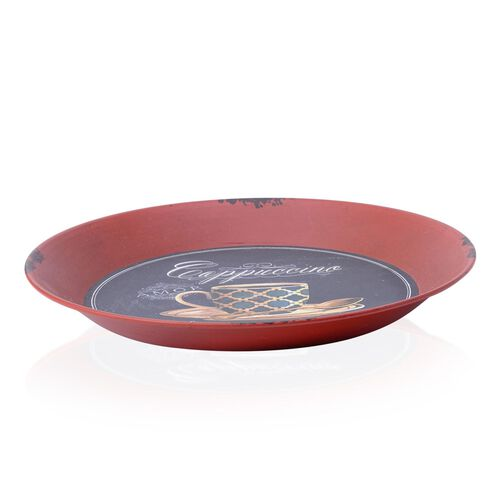 Wall Decor - Round Shape Coffee Cup Design Red Colour Wall Hanging (Size 33 Cm)