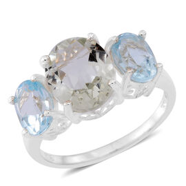 Green Amethyst (Ovl 3.00 Ct), Sky Blue Topaz Ring in Sterling Silver 5.500 Ct.