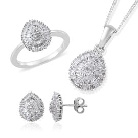Diamond (Rnd and Bgt) Ring, Adjustable Pendant with Chain (Size 20) and Stud Earrings (with Push Back) in Platinum Overlay Sterling Silver 1.150 Ct. Silver wt 6.01 Gms. Number of Diamonds 292