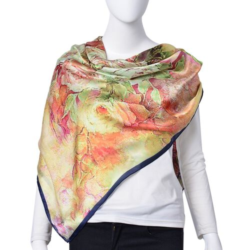 Orange, Pink and Multi Colour Floral Pattern Square Shape Scarf (Size 110X110 Cm)