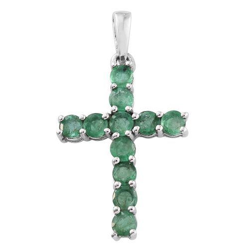 Kagem Zambian Emerald (Rnd) Cross Pendant in Platinum Overlay Sterling Silver 1.250 Ct.