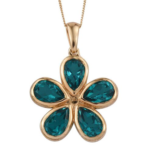 Capri Blue Quartz (Pear) Floral Pendant With Chain in 14K Gold Overlay Sterling Silver 7.750 Ct.