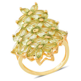 Hebei Peridot (Mrq) Floral Ring in 14K Gold Overlay Sterling Silver 9.750 Ct.