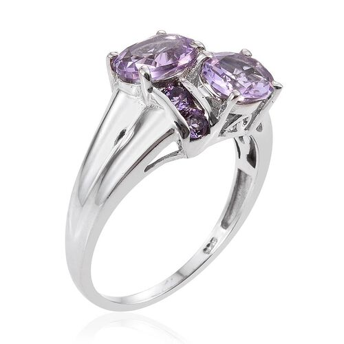 Rose De France Amethyst (Ovl), Amethyst Ring in Platinum Overlay Sterling Silver 2.400 Ct.