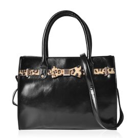 Wilton Leopard Bow Adorned Black Colour Tote Bag with External Zipper Pocket and Removable Shoulder Strap (Size 32x26x13 Cm)