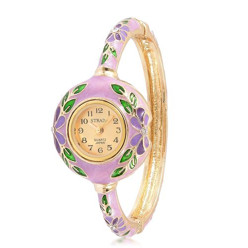 STRADA Japanese Movement Golden Sunshine Dial with White Austrian Crystal Floral Pattern Purple Enameled Bangle Watch in Gold Tone