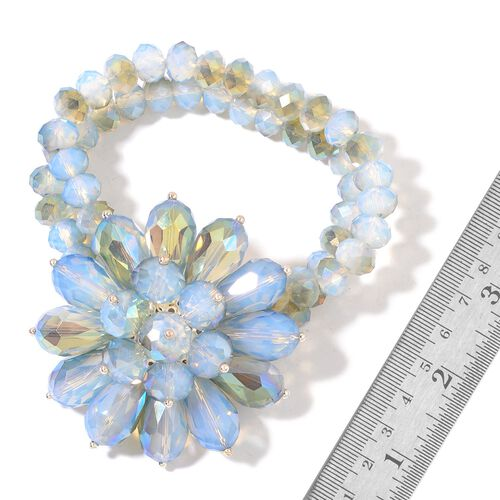 New Arrival - Simulated Opalite Floral Stretchable Bracelet (Size 6.5)