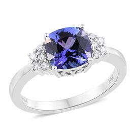 ILIANA 18K White Gold 2 Ct AAA Tanzanite Ring with Diamond SI/G-H