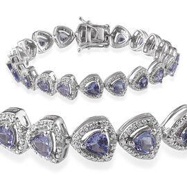 AA Tanzanite (Trl), Diamond Bracelet in Platinum Overlay Sterling Silver (Size 7) 7.100 Ct.