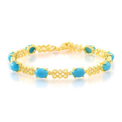 Arizona Sleeping Beauty Turquoise (Ovl) Bracelet (Size 7.5) in 14K Gold Overlay Sterling Silver 7.250 Ct.