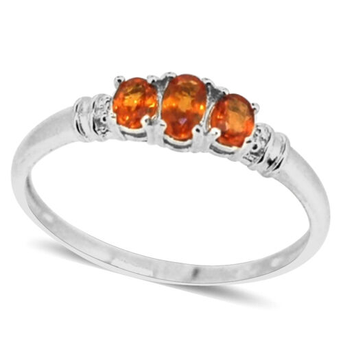 Orange Sapphire (Ovl) 3 Stone Ring in Sterling Silver 0.750 Ct.