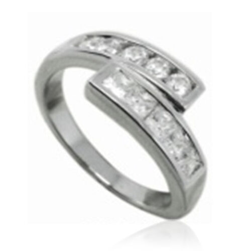 AAA Simulated Diamond (Sqr) Ring in Rhodium Plated Sterling Silver