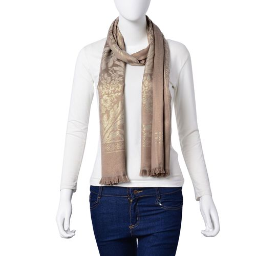 Leaves and Floral Pattern Bronze Colour Scarf with Fringes (Size 180x70 Cm)