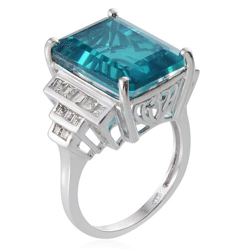 Capri Blue Quartz (Oct 12.25 Ct), White Topaz Ring in Platinum Overlay Sterling Silver 13.250 Ct.