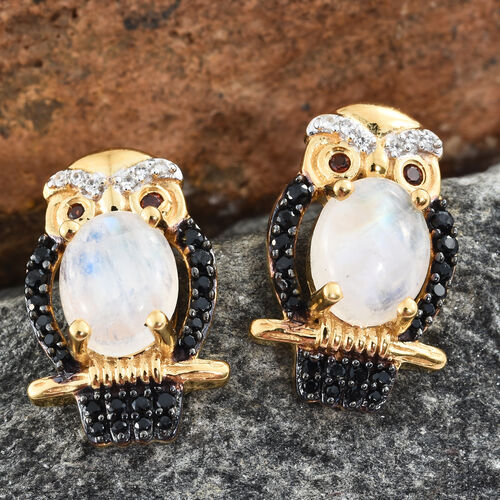 GP Rainbow Moonstone (Ovl), Kanchanaburi Blue Sapphire and Multi Gemstone Owl Stud Earrings (with Push Back) in 14K Gold and Black Rhodium Overlay Sterling Silver 4.250 Ct. Silver wt. 5.14 Gms.