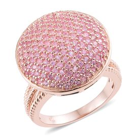 Designer Inspired - AAA Pink Sapphire (Rnd) Ring in Rose Gold Overlay Sterling Silver 3.250 Ct.No of Stone 163 Pcs
