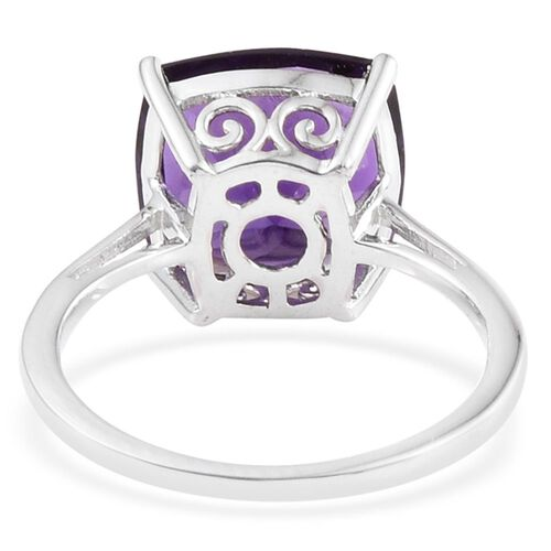 5 Carat Amethyst Silver Solitaire Ring in Platinum Overlay
