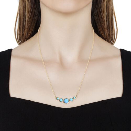 Arizona Sleeping Beauty Turquoise (Rnd) Necklace (Size 18) in 14K Gold Overlay Sterling Silver 2.750 Ct. Silver wt 5.12 Gms.