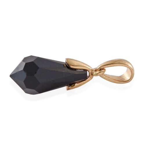 J Francis Crystal from Swarovski - Jet Black Crystal Pendant in 14K Gold Overlay Sterling Silver