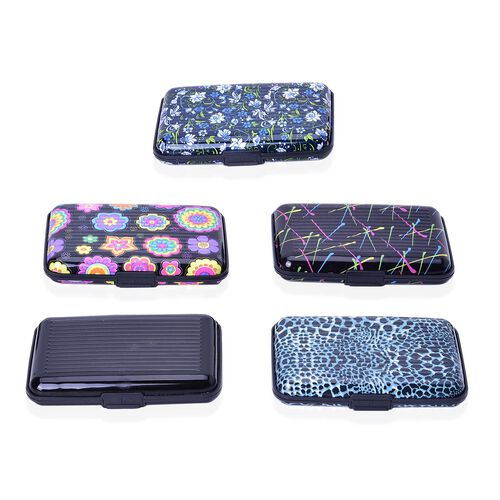Set of 5 Leopard Print RFID Blocking Card Holder (Size 11x7.5 Cm)