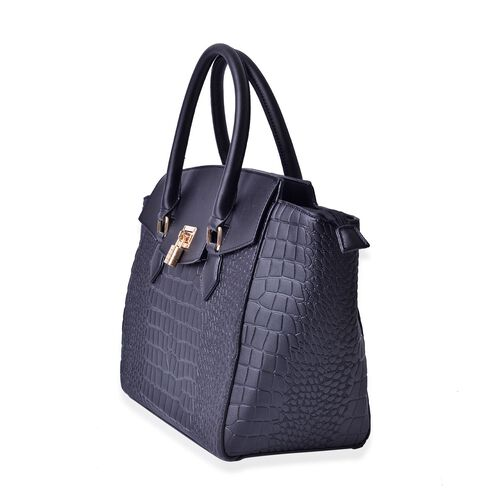Crock Embossed Black Colour Tote Bag (Size 43x29x14.5 Cm)