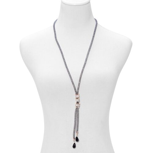 Simulated Black Spinel and White Austrian Crystal Necklace (Size 30) in Gold Tone