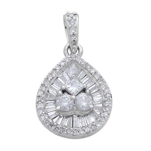 9K W Gold SGL Certified Diamond (Rnd) (I2/ G-H) Pendant 0.500 Ct.