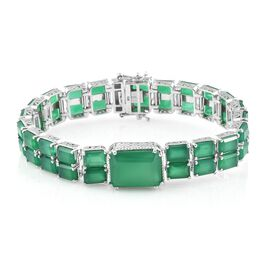 Verde Onyx (Oct 16x12 MM 10.00 Ct) Bracelet (Size 8.25) in Platinum Overlay Sterling Silver 24.000 Ct. Silver wt 25.19 Gms.