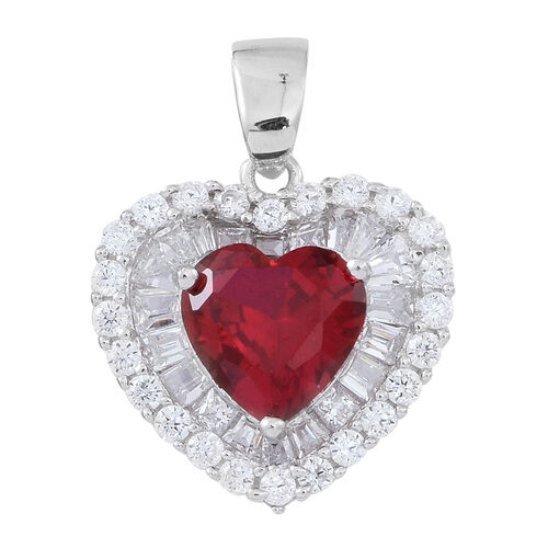 ELANZA AAA Simulated Nigerian Rubellite (Hrt), Simulated White Diamond Pendant in Rhodium Plated Sterling Silver