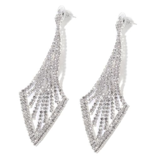 AAA White Austrian Crystal Chandelier Earrings (with Push Back) in Silver Tone
