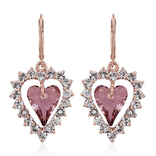 J Francis Crystal from Swarovski - Morganite Pink Colour Crystal (Hrt), White Crystal Lever Back Earrings in Rose Gold Overlay Sterling Silver