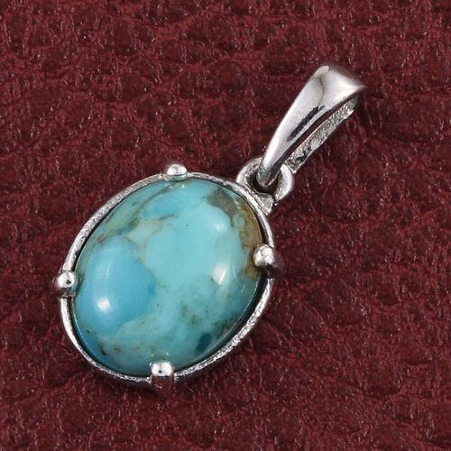 Arizona Matrix Turquoise (Ovl) Solitaire Pendant in Platinum Overlay Sterling Silver 2.000 Ct.