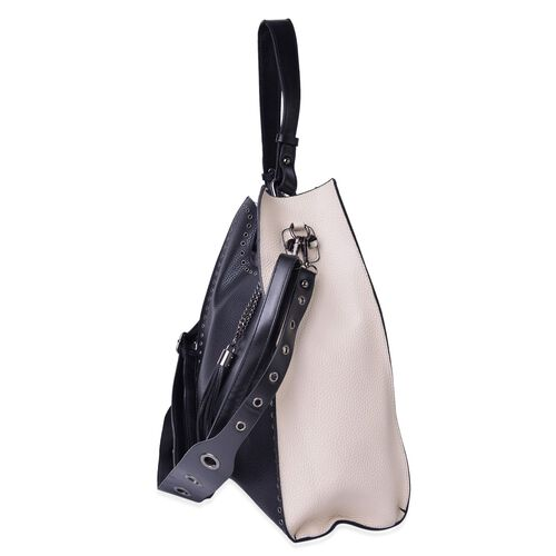 Set of 2 - Black and Cream Colour Large Handbag (Size 33X30X14 Cm) with Tassel Charm and Small Handbag (Size 22X20X6 Cm) with Adjustable Shoulder Strap