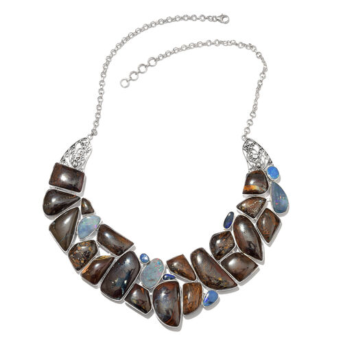 One Off A Kind- Boulder Opal Rock and Opal Double Necklace (Size 18 with 1 inch Extender) in Sterling Silver 474.600 Ct. Silver wt. 64.78 Gms.
