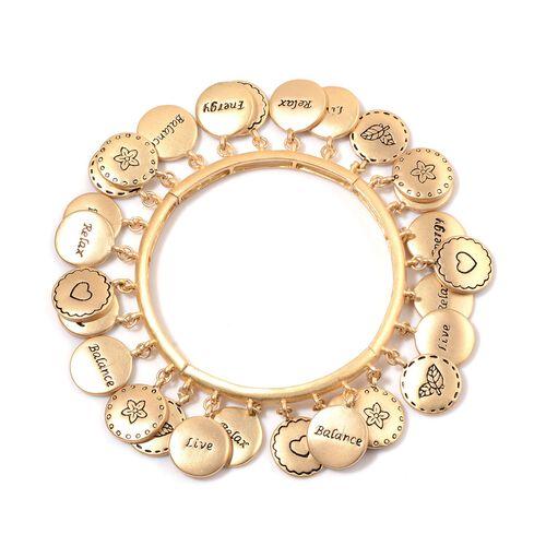 Designer Inspired Multi Charms Stretchable Bracelet (Size 7.5) in Gold Tone