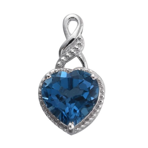 Swiss Blue Topaz (Hrt) Solitaire Pendant in Platinum Overlay Sterling Silver 4.000 Ct.