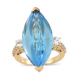 Marambaia Topaz (Mrq 21.75 Ct), Natural Cambodian Zircon Ring in 14K Gold Overlay Sterling Silver 23.000 Ct. Silver wt 6.55 Gms.