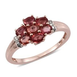 Sunset Sapphire (Ovl) 7 Stone Ring in Rose Gold Overlay Sterling Silver 1.750 Ct.