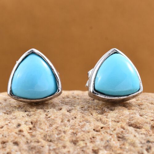 Arizona Sleeping Beauty Turquoise (Trl) Stud Earrings (with Push Back) in Platinum Overlay Sterling Silver 1.500 Ct.