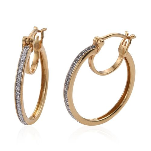J Francis - 14K Gold Overlay Sterling Silver (Rnd) Hoop Earrings (with Clasp) Made with SWAROVSKI ZIRCONIA