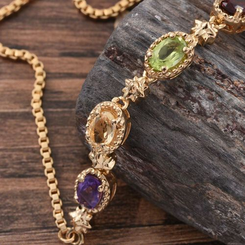 Sky Blue Topaz (Ovl), Mozambique Garnet, Hebei Peridot, Amethyst and Citrine Adjustable Bracelet (Size 6.5 to 8.5) in ION Plated 18K Yellow Gold Bond 2.410 Ct.