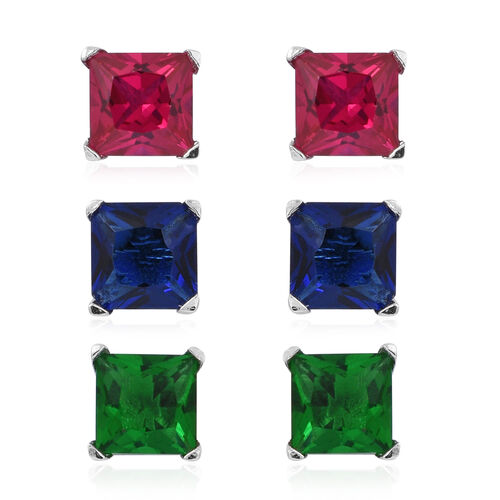 Set of 3 - ELANZA AAA Simulated Rubelite (Sqr), Simulated Tsavorite Garnet and Simulated Ceylon Sapphire Stud Earrings (with Push Back) in Rhodium Plated Sterling Silver
